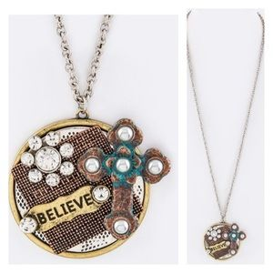 Believe 3 Tone mix charmed necklace
